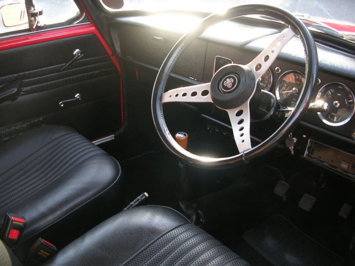 1971 austin 1300 gt flame red interior