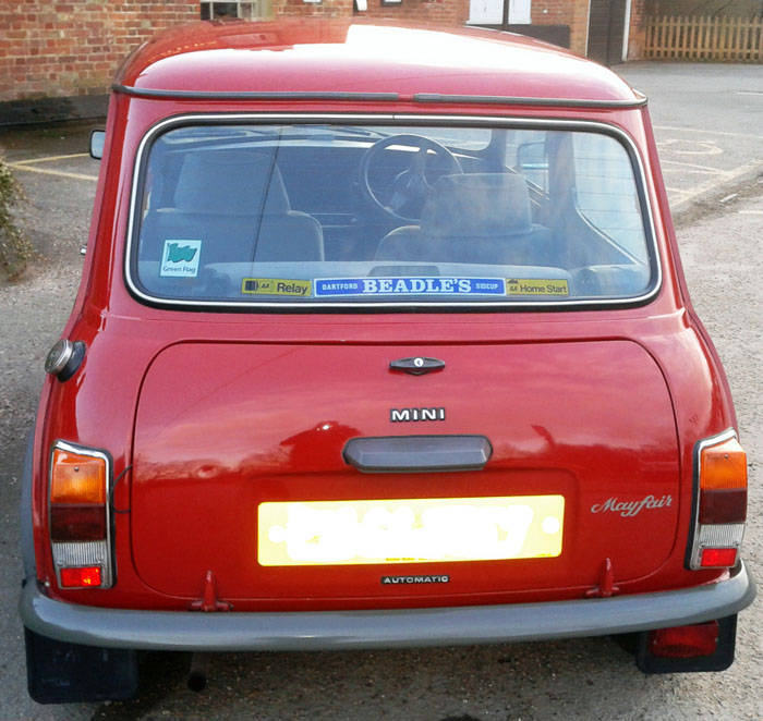 1988 austin classic mini mayfair auto red back