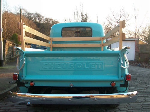 1951 chevrolet thriftmaster 3100 stepside bodied pick up back