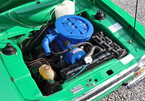 1975 ford escort rs 2000 green engine bay