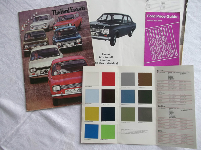 1972 Ford Escort MK1 1100 Colour Chart