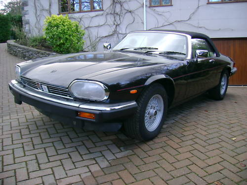 jaguar xjs v12 auto convertible in black ivory leather 1