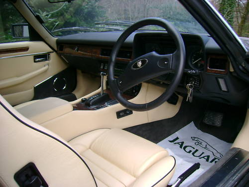 jaguar xjs v12 auto convertible in black ivory leather interior 1