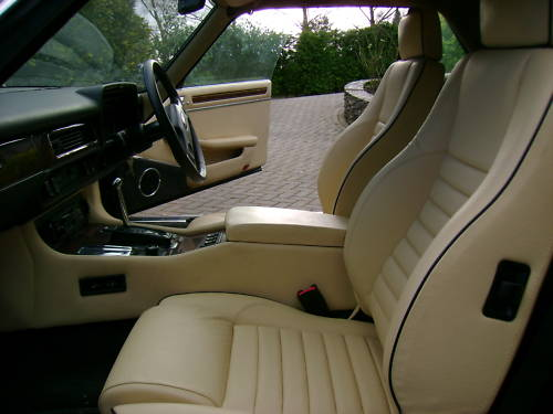 jaguar xjs v12 auto convertible in black ivory leather interior 2