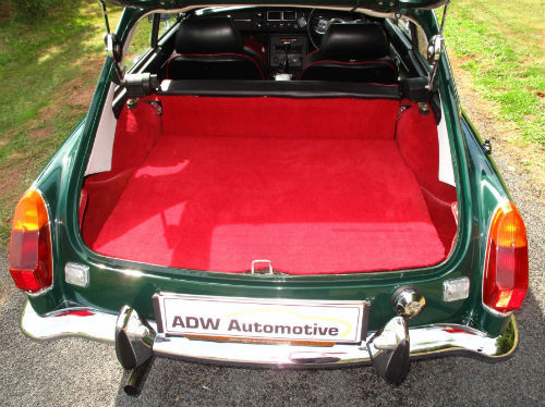 1972 mg b gt coupe british racing green boot