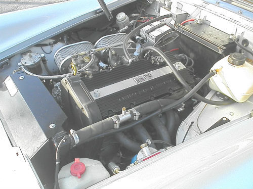 1972 mg midget in silver engine bay