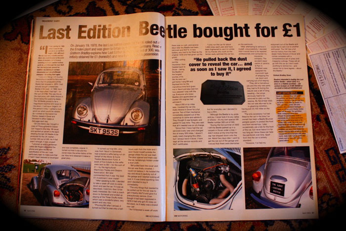 1978 vw beetle no.300 of 300 magazine feature 2
